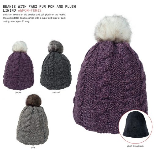 Beanie With Faux Fur Pom And Plush Lining