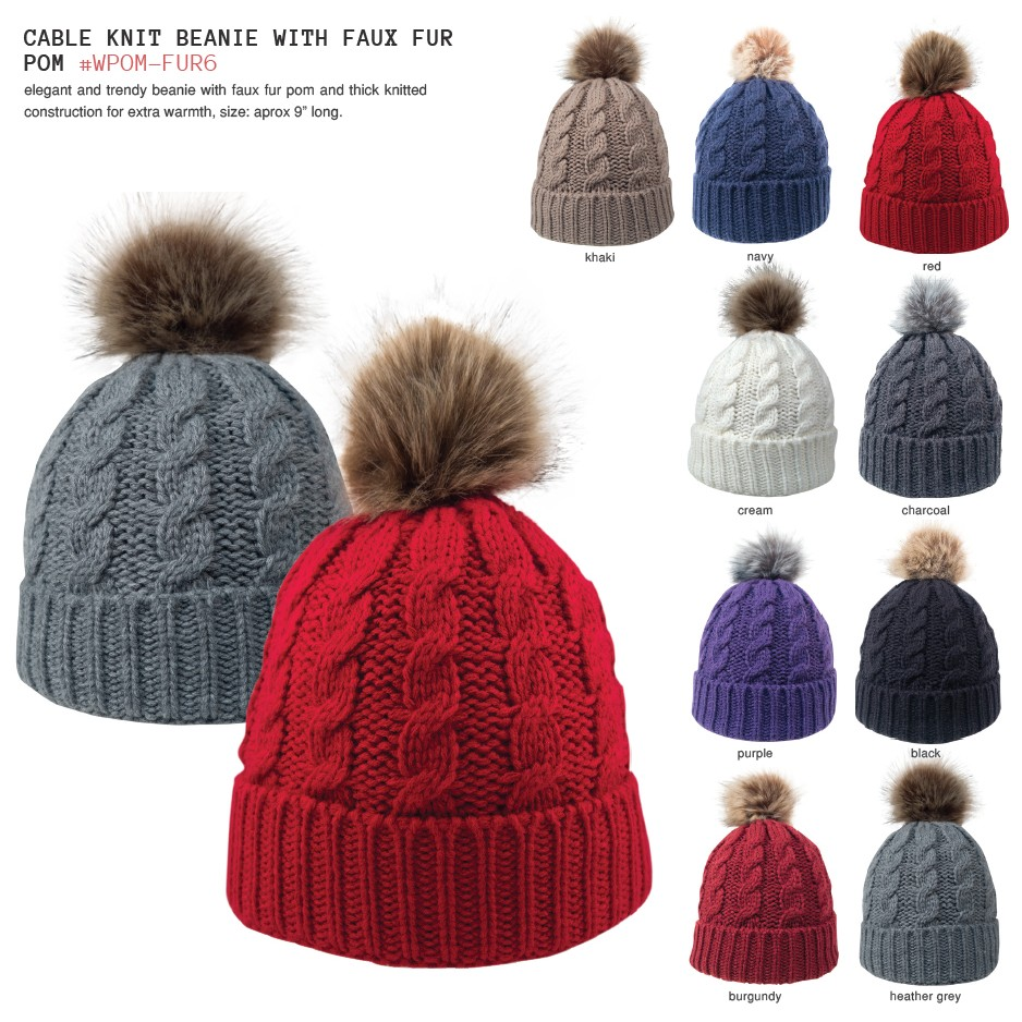 Cable Knit Beanie With Faux Fur Pom  01025e10822