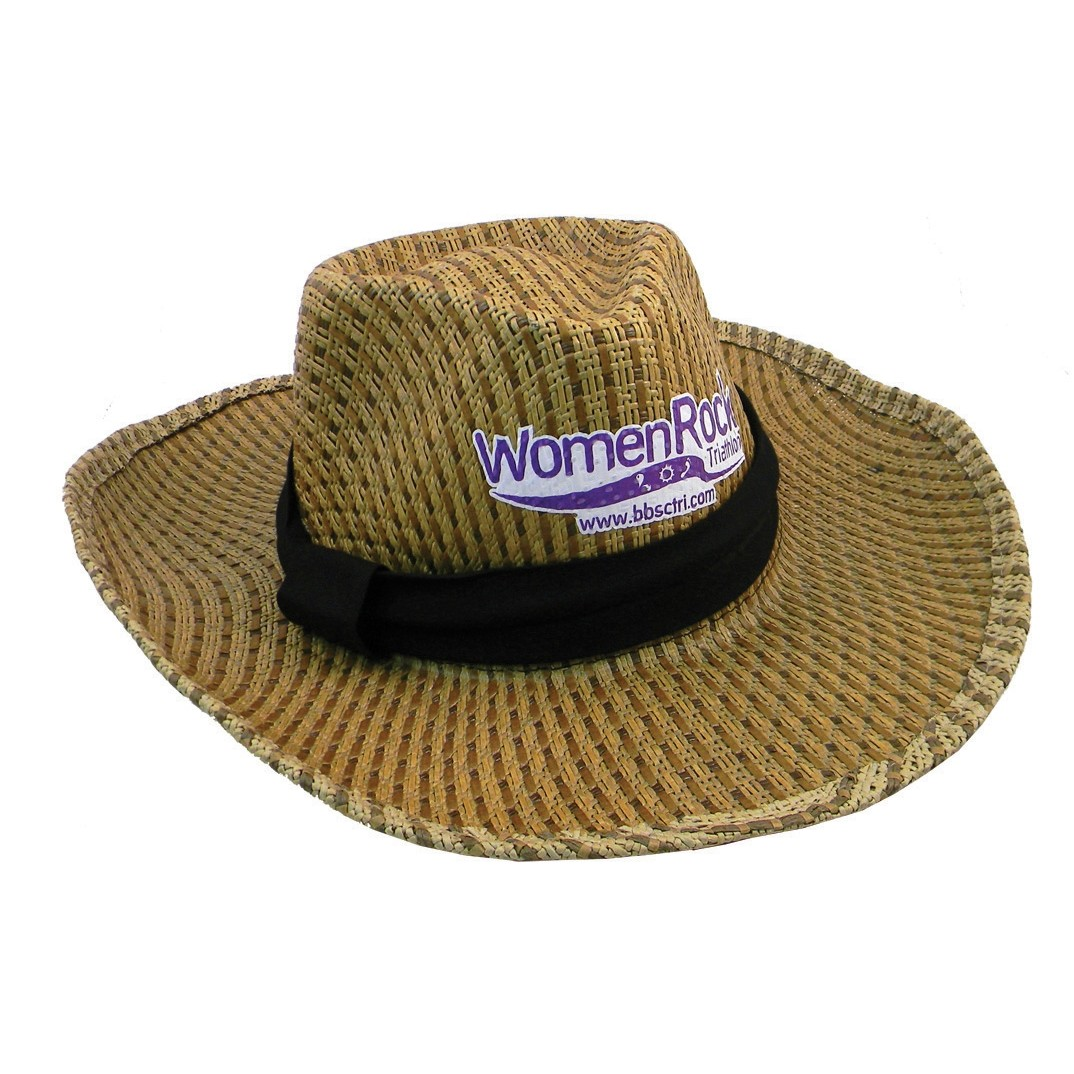 Straw Hat w/ Weave Pattern & Hat Band
