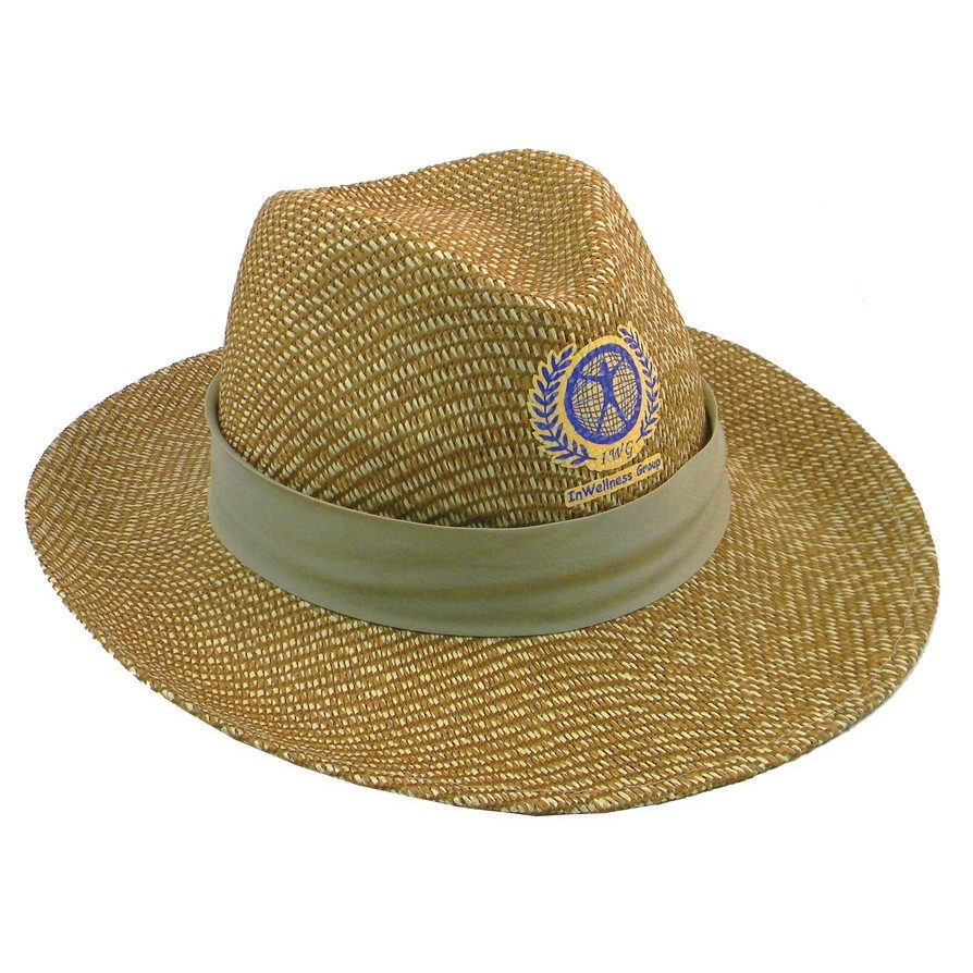 Straw Hat w/ Wide Flat Brim & Hat Band