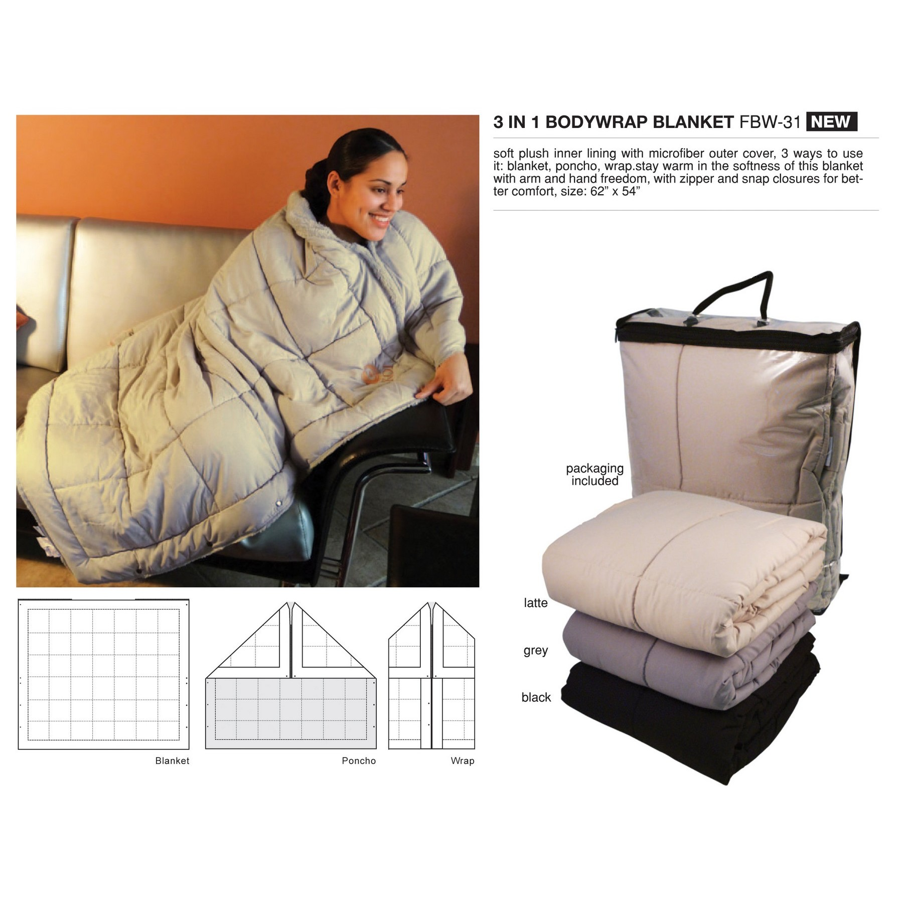 3 In 1 Bodywrap Blanket