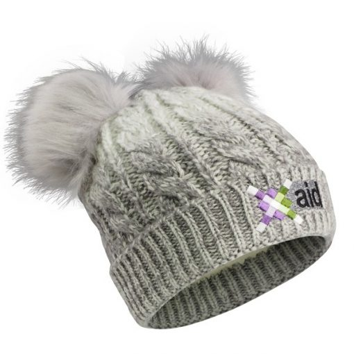 Cable Knit Beanie With Fur Pom Ears