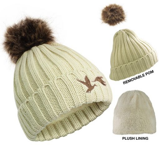 Cable Knit Beanie With Removable Pom