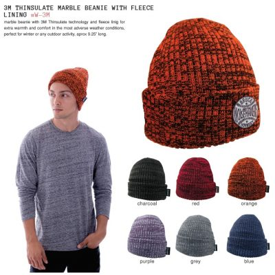 3 M Thinsulate Marble Beanie W/Fleece Lining