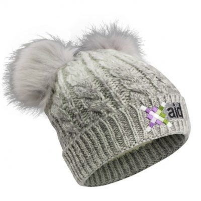 Cable Knit Beanie W/Fur Pom Ears