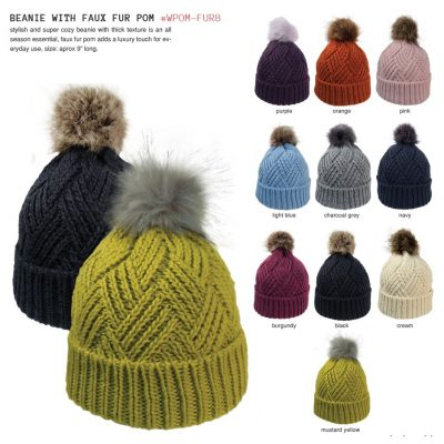 Cross Hatch Beanie W/Faux Fur Pom